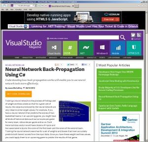 NeuralNetworkBackPropUsingCSharpVisualStudioMagazine
