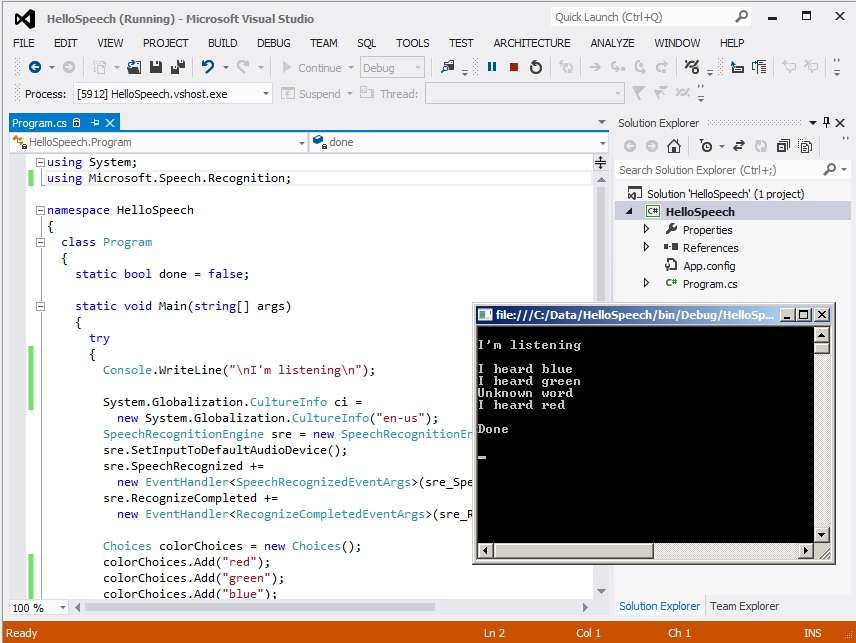 Quick Start for Microsoft Speech Recognition with C# | James D