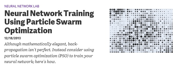 Neural Network Training using Particle Swarm Optimization