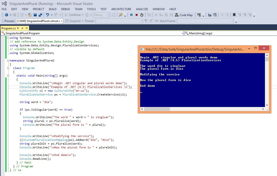 Singular and Plural Words using .NET PluralizationServices   James ...