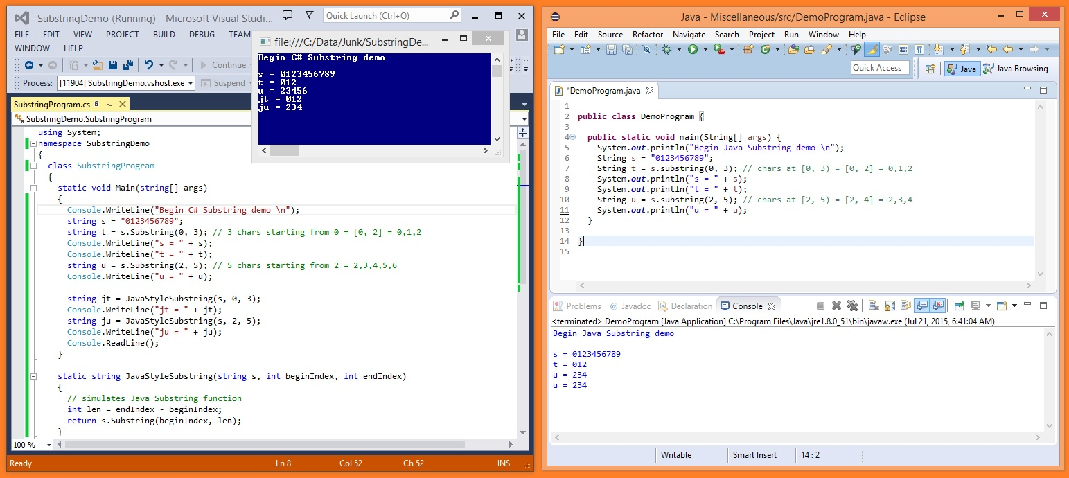 The Java Substring Function vs  the C# Substring Function   James D