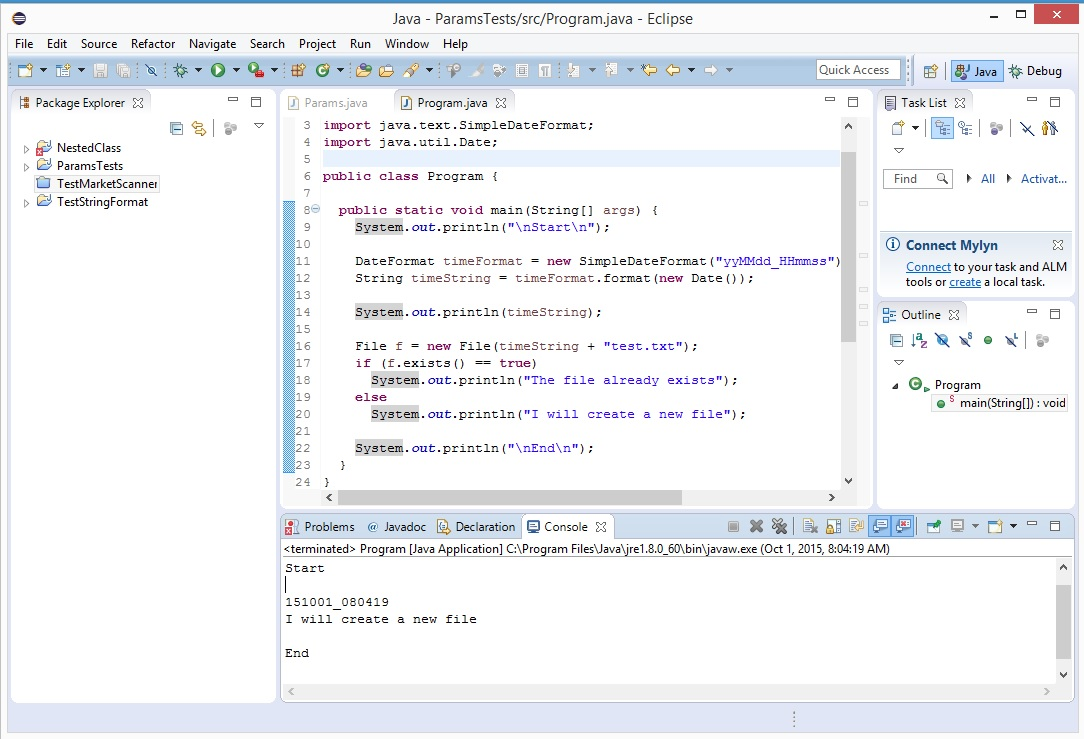 C vs java creating and checking existence of a file for Java word documents