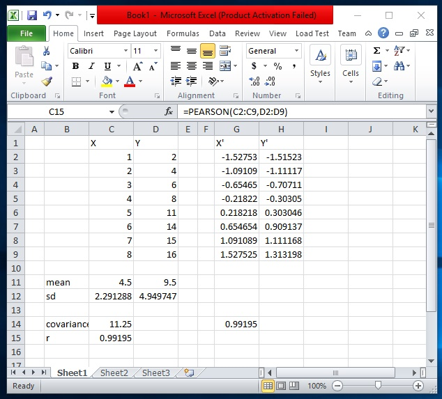 how to find covariance in excel 2016