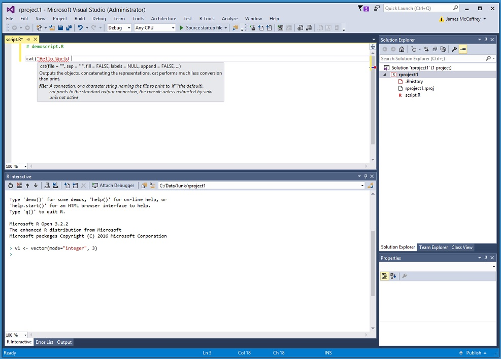 Another Look at R Tools for Visual Studio | James D  McCaffrey