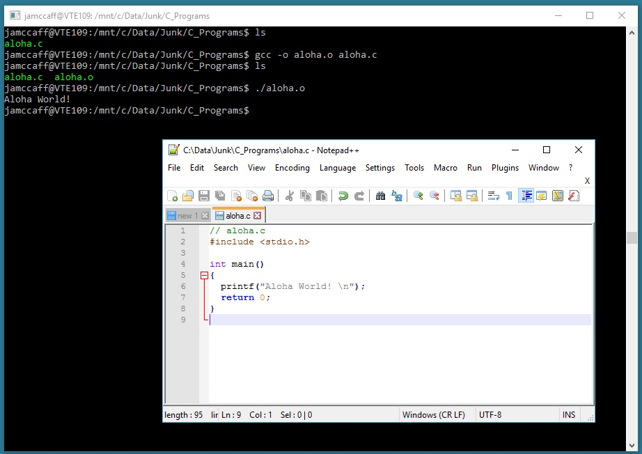 Compiling and Running a C Program in Bash on Windows 10