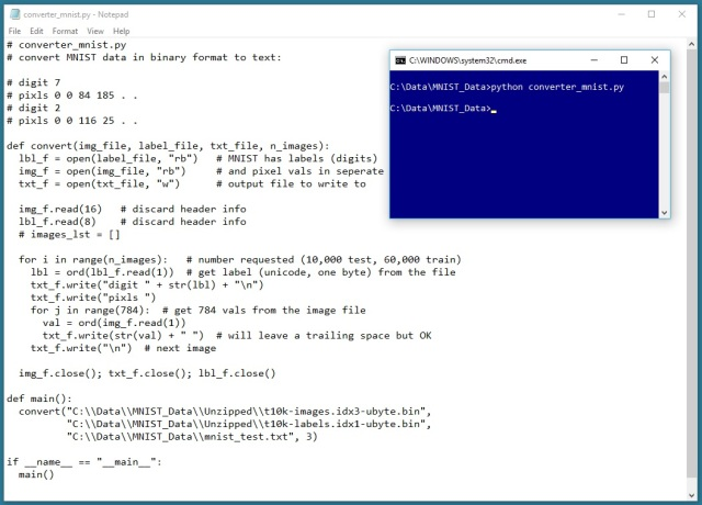 Getting MNIST Data into a Text File | James D  McCaffrey