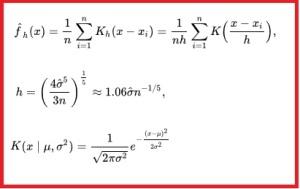Parzen Window Probability Density Function Estimation