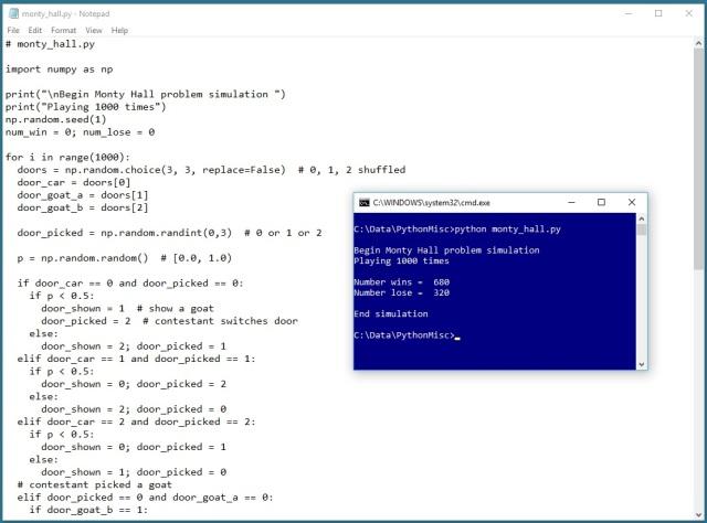The Monty Hall Problem Simulation | James D  McCaffrey